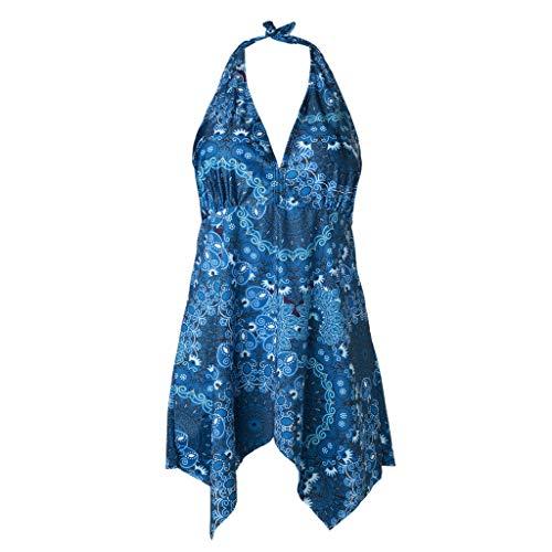 GUTTEAR Puls Size Sommer Swimsuit, Women Tankini Sets with Boy Shorts Swimwear Hight Waist Two Piece Swimsuits Blue S/M/L/XL/XXL/XXXL/XXXXL/XXXXXXL