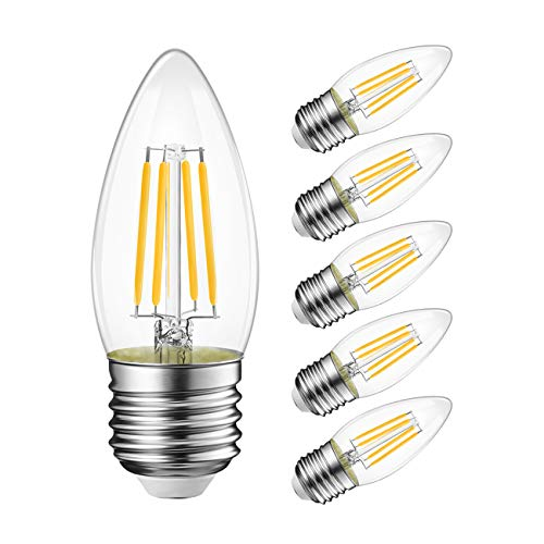 LVWIT B11 Filament Bulb E26 Base Non-Dimmable 6W(60W Equivalent) 2700K Warm White Chandelier Decorative Candle Light Bulb 6 Pack
