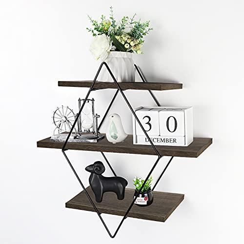 Befayoo Floating Shelves for Wall, Rustic Wood Geometric Style Decor Shelf for Bathroom Bedroom Living Room Kitchen Office (Diamond, Coffee)