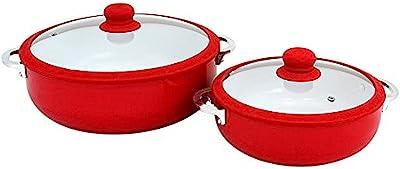 IMUSA USA Ceramic Nonstick Caldero Set 2-Piece, Red