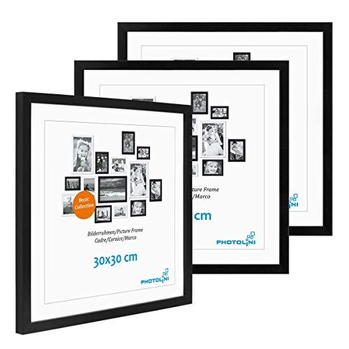 Lot de 3 Cadres 30x30 cm Moderne Noir en MDF avec vitre en Acrylique Comprenant Accessoires/Collage de Photos/galerie d'images/Multi Cadre Photo Mural