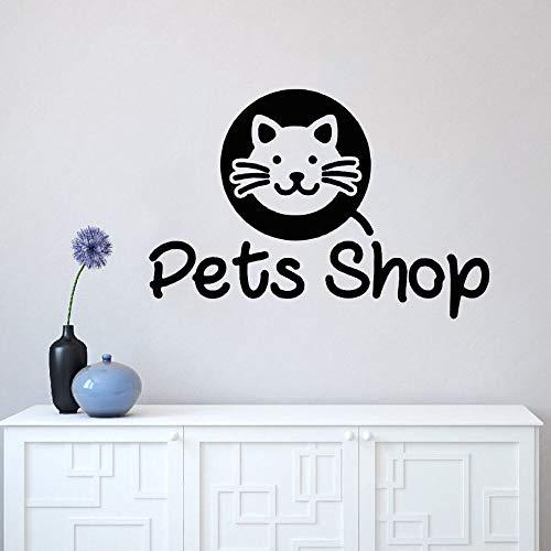YuanMinglu Nette Katze Silhouette Tierhandlung Wandaufkleber Tierliebhaber Aufkleber nach Hause und Tierhandlung Dekoration 74x54cm
