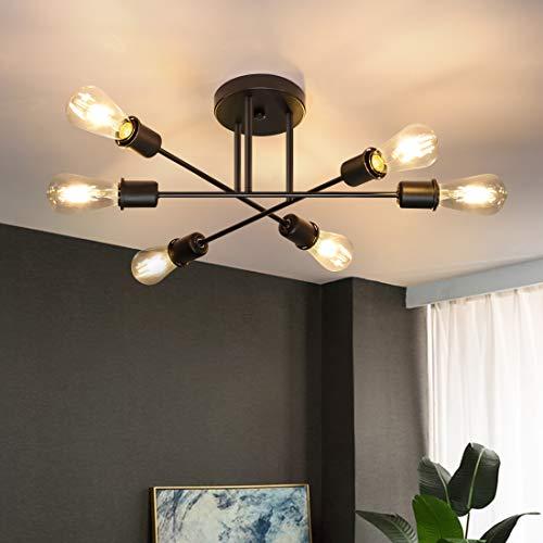 CBJKTX Deckenlampe Vintage Deckenleuchte 6 Flammig Wohnzimmerlampe E27 Kronleuchter Schwarz Schlafzimmerlampe Retro Industriellampe Esstischlampe Rustikal Stil (ohne Leuchtmittel)