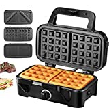 Decen 3-in-1 Sandwich Maker, Waffle Maker, Electric Panini Press Grill, with Removable Non-Stick