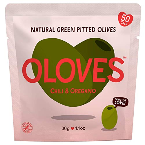 OLOVES Fresh Green Pitted Olives | 30 Pack | Chili & Oregano | Vegan, Kosher, Gluten Free + Keto Friendly, All Natural Low Calorie Healthy Snacks | 1.1oz Bags