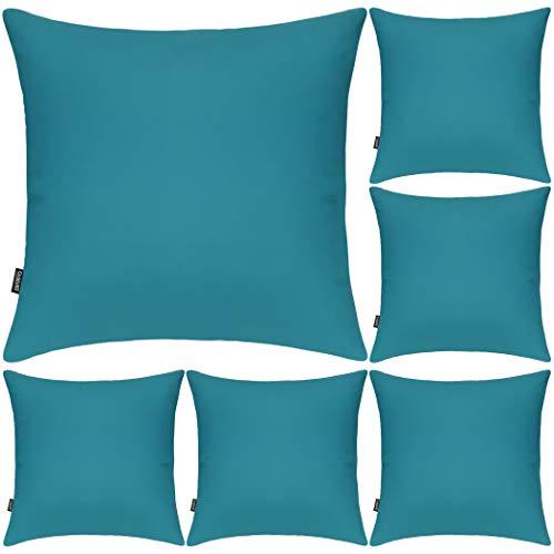 Juego de 6 fundas de almohada decorativas 100% algodón, 50 x 50 cm, cuadradas, fundas de almohada sólidas para el hogar, cama, sofá (azul claro, paquete de 6 unidades, 50 x 50 cm)