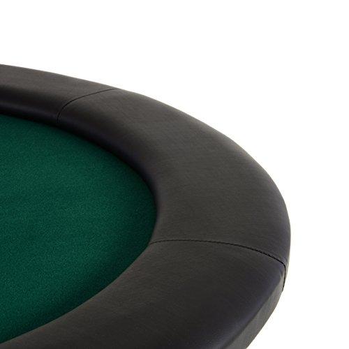 Nexos Pokertisch massiv Casinotisch aus Holz für Poker mit grünem Filzbezug Armlehnen eingelassener Chiptray für 10 Spieler - 2