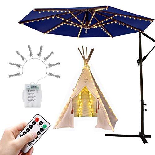 Sonnenschirm Beleuchtung Regenschirm Lichterkette mit 104 LED Lichter mit Fernbedienung 8-Modus Wasserdichte Gartenleuchten für Party Weihnachten Halloween Dekoration Campingzelte Batteriebetrieben