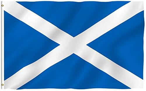 Anley Fly Breeze 3x5 Fuß Scotland Flagge - Lebendige Farbe und UV-beständig - Canvas Header und doppelt genäht - Scottish National Flags Polyester mit Messingösen 3 X 5 Ft