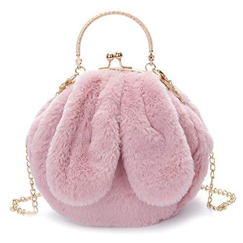 TOOGOO Bolsos de Cadena de Conejo con Orejas Grandes de Invierno para Mujer, Bolsos de Moda para Ni?As, Bolso de Mano, Color Rosa