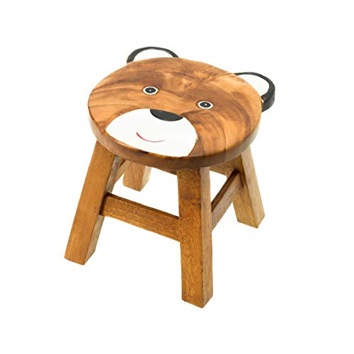 Kinderhocker, Schemel, Kinderstuhl massiv aus Holz mit Tiermotiv Bär natur, 25 cm Sitzhöhe für unsere Kindersitzgruppe