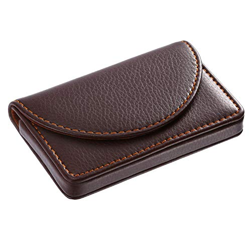 Leather Business Card Holder Case Wallet Credit/Name Card Holder Case with Magnetic Shut Coffee