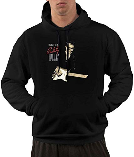 LANGPIAOEZU The Very Best of Buddy Holly and The Crickets Mens Personalized Hoodies Sweater with Pocket Long Sleeve tee Black