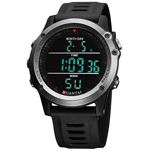 SAILINE Herren Armbanduhr, modisch, digital, Kunststoffgehäuse, elektronisch, wasserdicht, Militär-LED-Sport-Multifunktions-Armbanduhr (Black)