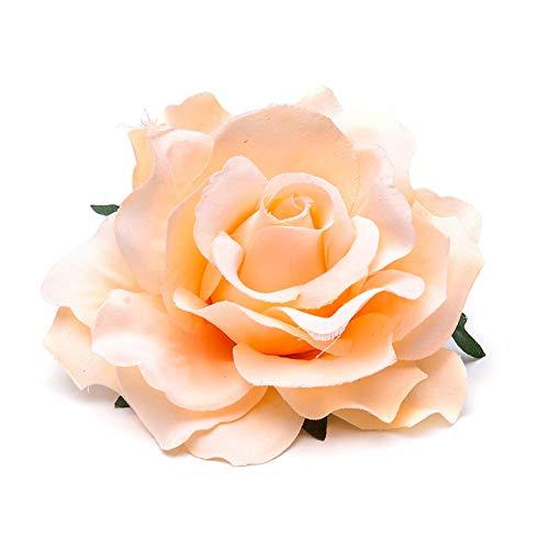 Hilai 2pcs teste di fiore di rosa artificiale teste di fiore di seta rosa teste di simulazione di rosa per la decorazione di bouquet di nozze fai da te(Limone giallo)