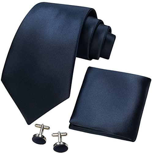 CANGRON Set cravatta uomo blu navy con cravatta e gemelli fazzoletto da taschino Confezione regalo DLSC8ZQ