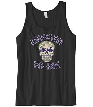 Cybertela Men s Addicted to Ink Sugar Skull Tattoo Tank Top  Black 3X-Large