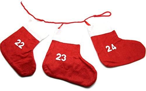 Bada Bing Ádventskalender Stiefel 24 Socken Advent Kette Filz Rot Weihnachten Santa Nikolaus 09