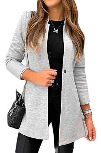 hower Womens Formal Slim Mandarin Collar Long Sleeve Blazer Jacket Suit Coat Outwears Grey L