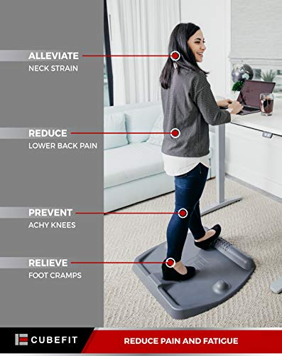 CubeFit - TerraMat Standing Desk Mat - Comfy, Ergonomic, Anti-Fatigue Mat - Perfect for Standing Workstations - Office or Home - Stretches & Massages - 11 Possible Stances!