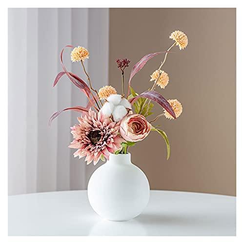 DIWA Flores Artificiales Mixtas, Flor Falsa de Seda con jarrón, Hortensia/Rosa/Girasol/Flor de plástico para decoración (Color : A)