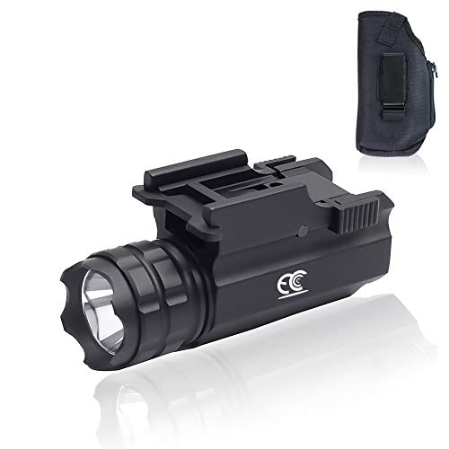 MCCC Handgun Light Picatinny Rail Mount + Pistol Holster Combo Fits Pistols,Shotguns,Rifles with 500 Lumens, Quick Mount Without Tools Gun Accessories Pistol Light