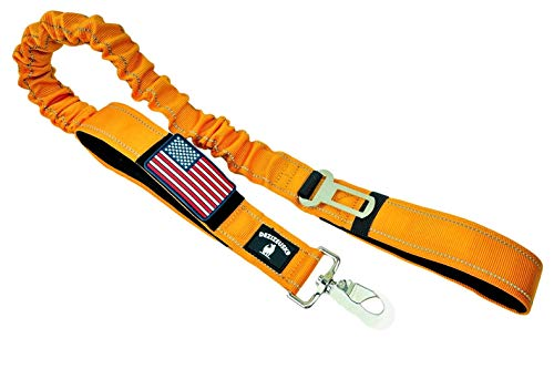 Tactical Bungee K9 Dog Leash - 1.5' INCH Wide XL Strong Leashes Heavy Duty Nylon Elastic Stretch Shock Absorbing Military Dogs Training Seat Belt Clip Removable American Flag Patch