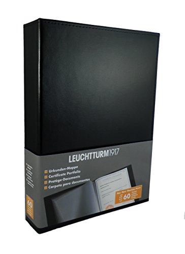 LEUCHTTURM1917 342494 Dokumentenalbum mit 60 Klarsichttaschen, DIN A4, Schwarz