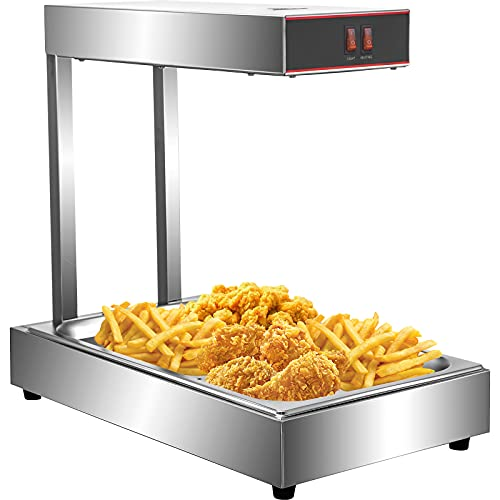 """VEVOR 110V French Fry Food Warmer 23"""" x 13.5"""", 900W Fry Heat Lamp with Detachable Bent Drain Board Drip Pan, Stainless Steel Food Heat Light 86℉-185℉, Free Standing Fried Chicken Warmer With Light"""
