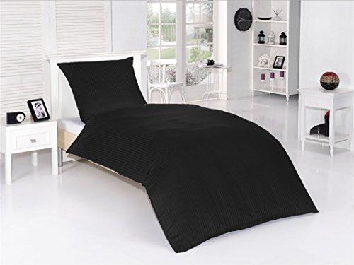 optidream Mako Satin luxuriöse Damast Bettwäsche Premium 100% Baumwolle Uni (Schwarz, 155x220+80x80 cm)