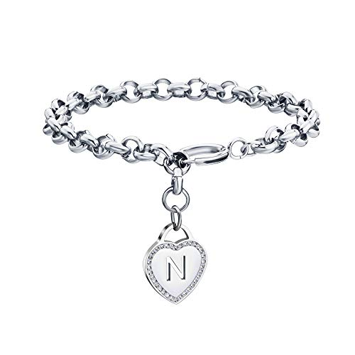 CaleesLLC Letter A to Z Initial Charm Bracelet Adjustable Stainless Steel Anklet Personalized Wrist Link for Women and Teen Girls Silver