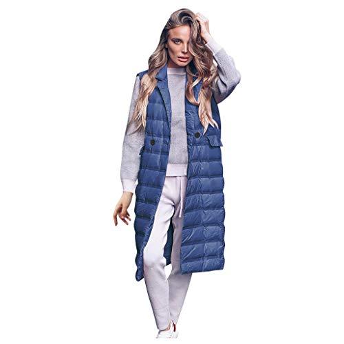 Damen Schlank Elegant Daunenweste, LeeMon Damen Weste Lang Mantel Outwear Ärmellose mit Kapuze Steppweste Wintermantel Vest