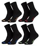 Piarini - 8 pares de calcetines unisex - Sin elástico - Caña cómoda - Negro con puntera de color - 43-46