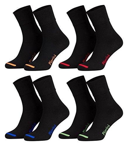 39-42 - 8 Paar Business Socken, Anzugsocken ohne Gummibund Baumwolle - Herren Damen - 8er Pack - schwarz-farbige Spitze
