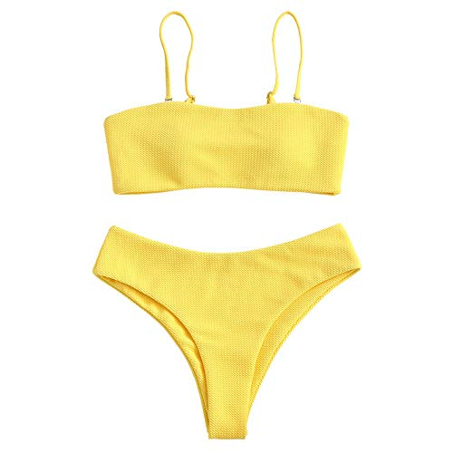 ZAFUL Damen Bikini Set, Texture Bandeau Bikini Set mit Gepolsterter High Cut Sexy Badeanzug (Gelb-S)