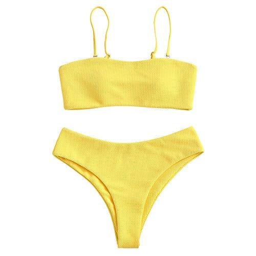 ZAFUL Damen Bikini Set, Texture Bandeau Bikini Set mit Gepolsterter High Cut Sexy Badeanzug (Gelb-M)