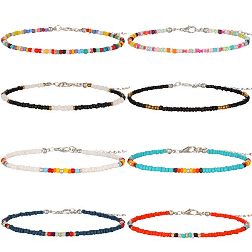 Starain 8-12Pcs Handmade Beaded Anklets for Women Girls Boho Colorful Beads Ankle Bracelets Adjustable Foot Anklet Set