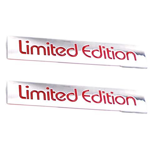 3D Limited Edition Logo Metal Emblem Badge Auto Premium Badge Trunk Fender Decal Sticker (Sliver-Red)