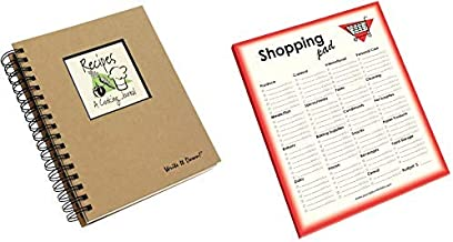 product image for Recipe Cookbook Journal and Grocery Shopping List Pad Set | 1 Full size Spiral Bound Blank Cook Book to Write In Your Favorite Cooking Recipes and 1 Groceries Notepad Checklist for Kitchen Supplies