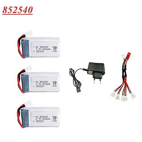 V-MAXZONE Batteria Lipo 3.7V 650mAh 852540 + Set Caricabatterie 3.7v per syma X5 X5C X5C-1 H5C X5SW 2s Batteria Ricaricabile Lipo Drone 3.7V ( Color : Black )