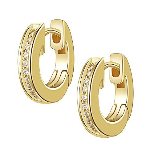 LOVglam Creolen Silber 925 klein (Ø 13 mm oder 16 mm) – Ohrringe hängend mit funkelnden Swarovski Zirkonia Steinen - Silber & Silber vergoldete Ohrhänger Earring