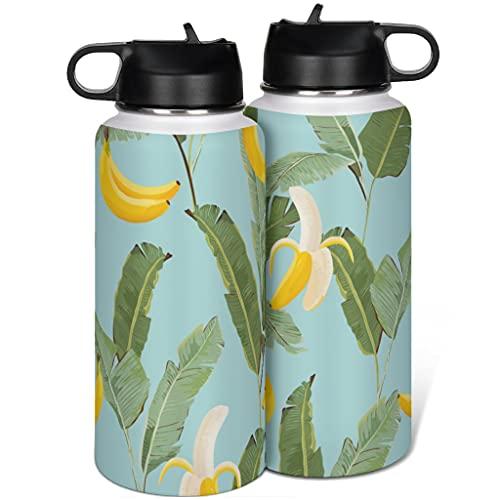 Taza termo de acero inoxidable con tapa para plátano y hojas, diseño de pajita de 1000 ml