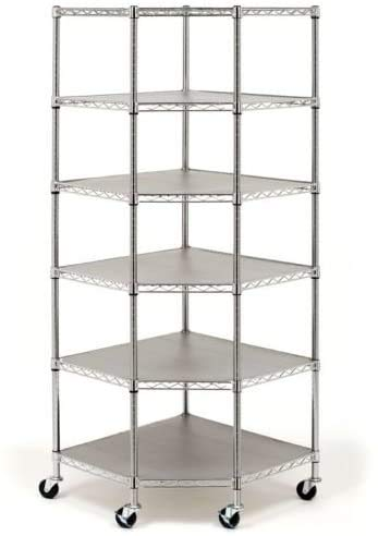 COLIBROX Heavy Duty Wire Steel 6-Tier Corner Shelf Garage Storage Shelving Rack