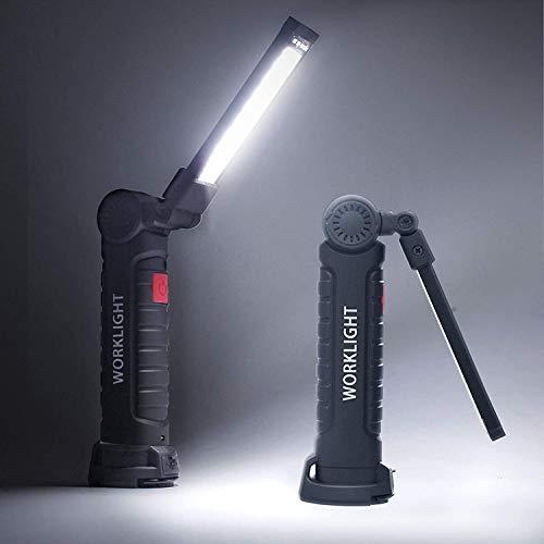Tccic Lampada da Lavoro a LED COB Ricaricabile, Lampada da ispezione Mini Torcia Portatile con Base Magnetica e Gancio per Officina Domestica Campeggio Escursionismo Allaperto (Nero)