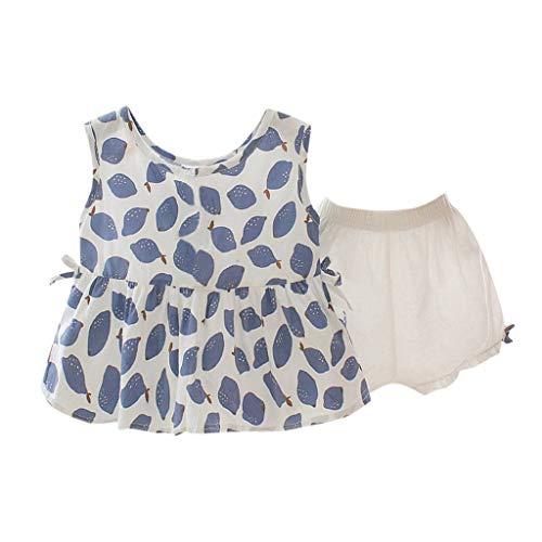Janly Clearance Sale Vestido para niñas de 0 a 10 años de edad, bebé niña sin mangas, frutas con estampado de limón+pantalones cortos sólidos, para niños pequeños de 18 a 24 meses (azul)