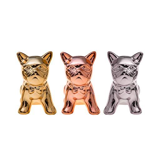 Flanacom Mini Bulldoggen Figuren 3-er Set - 3X Deko-Figur für Innen, Balkon & Garten - Hunde-Skulptur als Wohnaccessoire Designer Dekoration