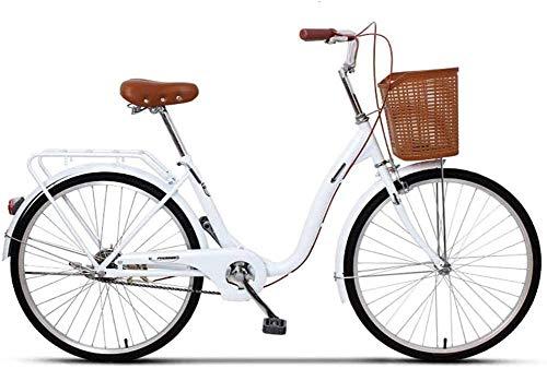 LJXiioo Vélo de croisière pour Femmes Vélo de croisière de Plage pour Adultes, transmissions à Une Vitesse, Cadres en Acier Moyen, Voiture de Banlieue légère pour étudiant en Ville,C,24IN