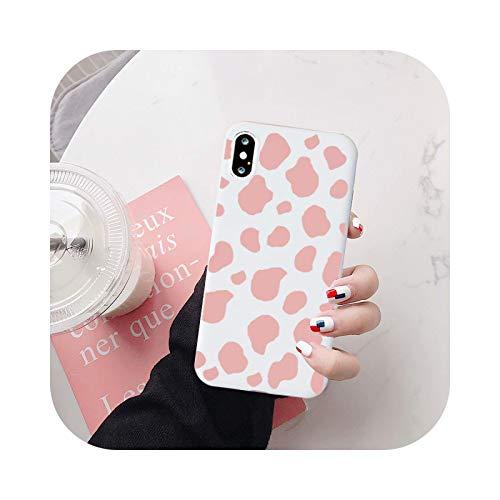 Funda para iPhone X XS XR MAX 12 11 PRO Max 6S con diseño de vaca y estampado de patrón de estampado de estampado de vaca blanco y rosa para iPhone 11