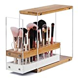 JackCubeDesign 29 Holes Acrylic Bamboo Brush Holder Organizer Beauty Cosmetic Display Stand with Leather Drawer(White, 8.77 x 3.34 x 8.42 inches) - :MK228D