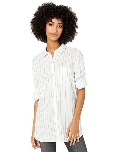 Amazon Brand - Goodthreads Women's Lightweight Poplin Long-Sleeve Button-Front Tunic Shirt, White/Blue Open Stripe , XX-Large